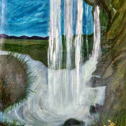 inside waterfall view, 11 x 15 inch, rashi bhalla,paintings for living room,water fountain paintings,canson paper,acrylic color,11x15inch,GAL023236985