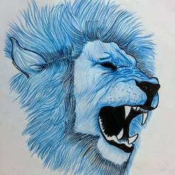 blue lion, 11 x 8 inch, ayush morarka,modern drawings,paintings for bedroom,paper,pencil color,11x8inch,GAL027646986