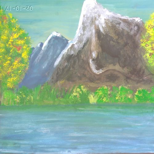 peaceful nature, 15 x 11 inch, rashi bhalla,landscape paintings,paintings for office,canson paper,acrylic color,15x11inch,GAL023236990