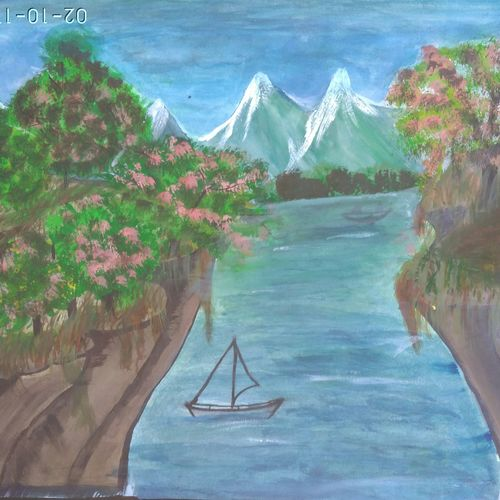 mountains cover with trees, 15 x 11 inch, rashi bhalla,landscape paintings,paintings for dining room,paper,acrylic color,15x11inch,GAL023236991