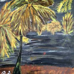golden tree, 17 x 12 inch, rashi bhalla,nature paintings,paintings for dining room,canson paper,acrylic color,17x12inch,GAL023236993Nature,environment,Beauty,scenery,greenery
