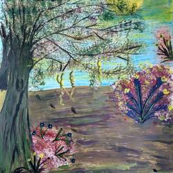 evening scene, 15 x 11 inch, rashi bhalla,nature paintings,paintings for living room,paper,acrylic color,15x11inch,GAL023236994Nature,environment,Beauty,scenery,greenery