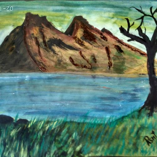 the mountains and two trees, 15 x 11 inch, rashi bhalla,nature paintings,paintings for living room,paper,acrylic color,15x11inch,GAL023236997Nature,environment,Beauty,scenery,greenery