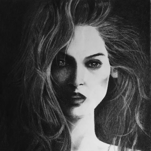 the imaginary lady, 20 x 24 inch, dani poulose,fine art drawings,paintings for living room,thick paper,charcoal,20x24inch,GAL027656998