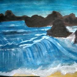 ocean scene with rocks, 15 x 11 inch, rashi bhalla,landscape paintings,paintings for dining room,canson paper,acrylic color,15x11inch,GAL023236999