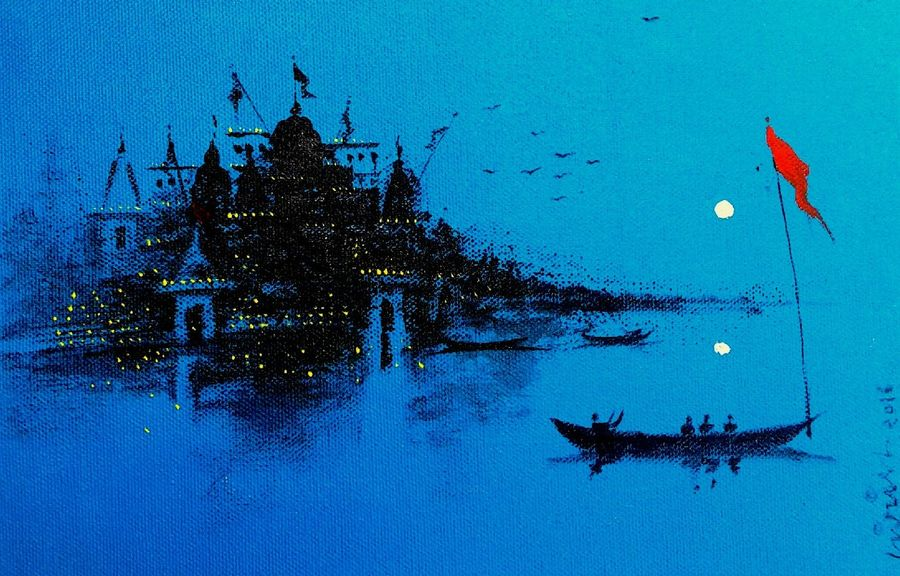 varanasi ghat- evening, 7 x 10 inch, girish chandra vidyaratna,landscape paintings,paintings for dining room,canvas,acrylic color,7x10inch,GAL03670