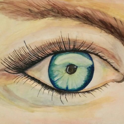beautiful eye., 22 x 18 inch, atul bharmoria,paintings for living room,figurative drawings,fine art drawings,modern drawings,thick paper,watercolor,22x18inch,GAL0335700