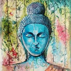 thoughts of buddha, 20 x 26 inch, dani poulose,buddha paintings,paintings for bedroom,thick paper,acrylic color,20x26inch,religious,peace,meditation,meditating,gautam,goutam,buddha,blue,peaceful,thoughtful,GAL027657000
