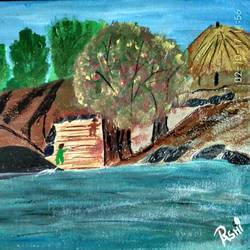 viillage ghat scene, 12 x 8 inch, rashi bhalla,nature paintings,paintings for living room,canson paper,acrylic color,12x8inch,GAL023237001Nature,environment,Beauty,scenery,greenery