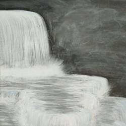 a waterfall at night, 15 x 17 inch, atul bharmoria,landscape paintings,thick paper,poster color,15x17inch,GAL0335701