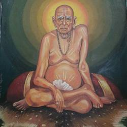 shree swami samarth, 30 x 24 inch, prashant sangare,figurative paintings,paintings for living room,canvas,oil,30x24inch,GAL027767014