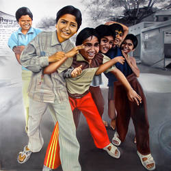 group of children, 48 x 48 inch, sanchit raj,figurative paintings,paintings for living room,kids paintings,canvas,oil,48x48inch,GAL0288702