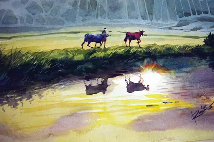 sunset, 15 x 22 inch, rasheed p u,nature paintings,paintings for living room,handmade paper,watercolor,15x22inch,GAL027917020Nature,environment,Beauty,scenery,greenery,cows,water,grass