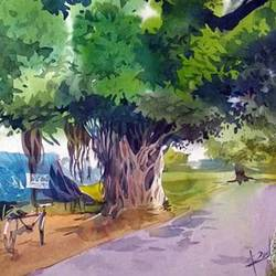 a village road scenery, 15 x 22 inch, rasheed p u,landscape paintings,paintings for bedroom,handmade paper,watercolor,15x22inch,GAL027917022