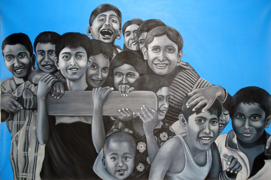 group of kids playing, 48 x 36 inch, sanchit raj,figurative paintings,paintings for living room,kids paintings,canvas,oil,48x36inch,GAL0288703