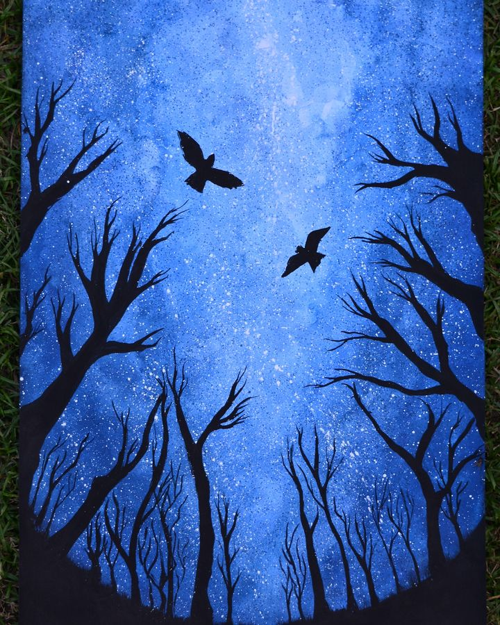 night full of stars, 12 x 17 inch, mayank chauhan,nature paintings,paintings for living room,vertical,ivory sheet,poster color,12x17inch,GAL027947030Nature,environment,Beauty,scenery,greenery,night,birds,trees