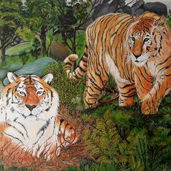 bengal tigers, 36 x 30 inch, pranav bhatnagar,wildlife paintings,paintings for living room,canvas,oil,36x30inch,GAL028027035
