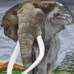 tusker, 30 x 36 inch, pranav bhatnagar,wildlife paintings,paintings for living room,elephant paintings,canvas,oil,30x36inch,GAL028027039