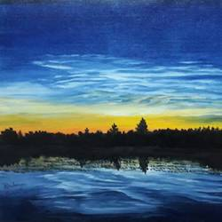nature, 18 x 12 inch, pranav bhatnagar,nature paintings,paintings for bedroom,canvas,oil,18x12inch,GAL028027040Nature,environment,Beauty,scenery,greenery,water,sunset
