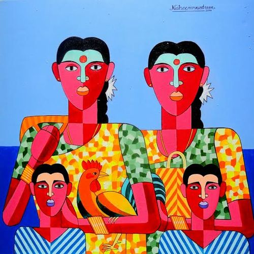 jathara, 36 x 36 inch, naheem rustum,figurative paintings,paintings for living room,canvas,acrylic color,36x36inch,GAL0344705
