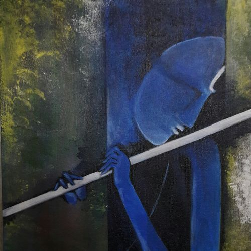 lord krishna acrylic  on canvas., 12 x 18 inch, santanu sen,abstract paintings,paintings for living room,radha krishna paintings,canvas,acrylic color,12x18inch,GAL019397050,krishna,lord,lordkrishna,love,devotion,peace,flute,music,