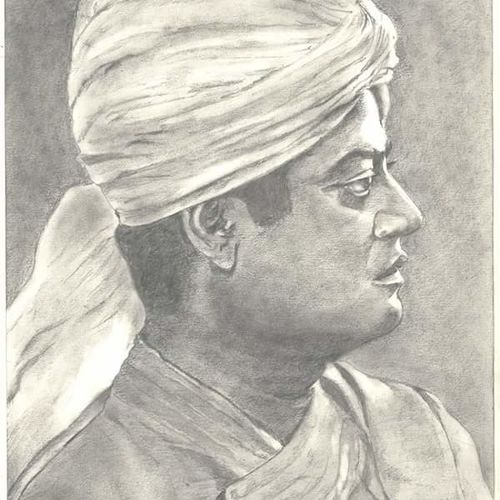 pencil sketch swami vivekananda, 12 x 16 inch, santanu sen,portrait drawings,paintings for living room,paper,graphite pencil,12x16inch,GAL019397052