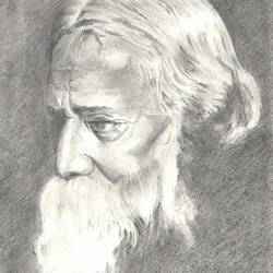 pencil sketch rabindranath tagore, 12 x 16 inch, santanu sen,portrait drawings,paintings for living room,paper,graphite pencil,12x16inch,GAL019397053