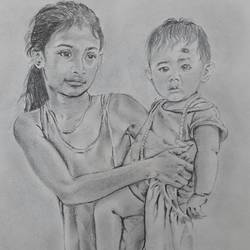 village girl, 12 x 16 inch, santanu sen,figurative drawings,paintings for living room,paper,graphite pencil,12x16inch,GAL019397055