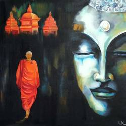 the divine path -the buddha , 24 x 20 inch, leena kulkarni,buddha paintings,paintings for living room,canvas,oil,24x20inch,religious,peace,meditation,meditating,gautam,goutam,buddha,grey,monk,temple,peaceful,GAL027007060