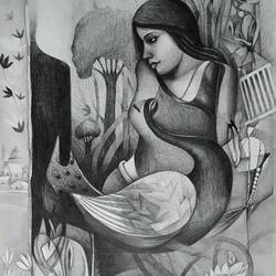 beauty 2, 15 x 20 inch, sanjay  tandekar ,figurative drawings,paintings for living room,canson paper,graphite pencil,15x20inch,GAL028107066