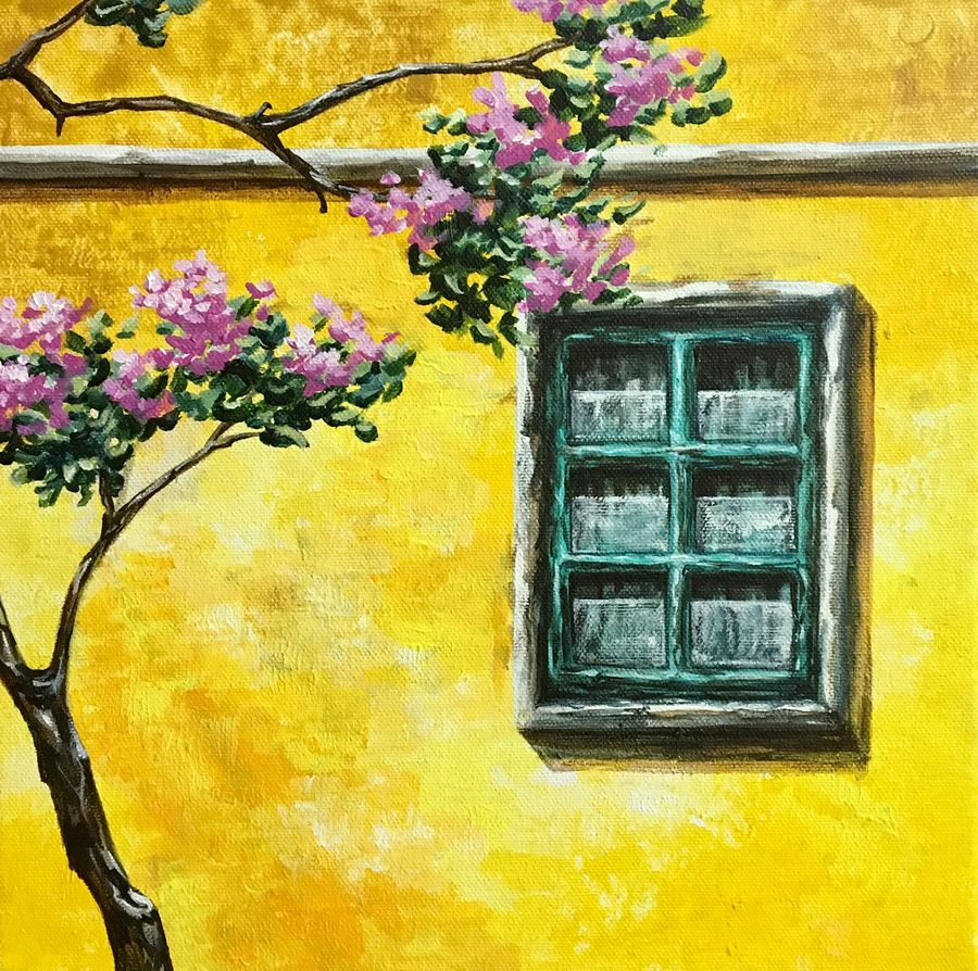 the sunny disposiion, 12 x 12 inch, priyanka dutt,cityscape paintings,paintings for living room,canvas,acrylic color,12x12inch,GAL08797075