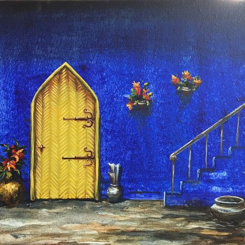 the intriguing stairway, 12 x 12 inch, priyanka dutt,cityscape paintings,paintings for living room,canvas,acrylic color,12x12inch,GAL08797076