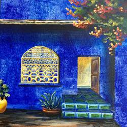 jewel tones, 12 x 12 inch, priyanka dutt,cityscape paintings,paintings for living room,canvas,acrylic color,12x12inch,GAL08797077