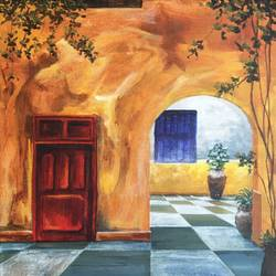 veranda, 12 x 12 inch, priyanka dutt,cityscape paintings,paintings for office,canvas,acrylic color,12x12inch,GAL08797079