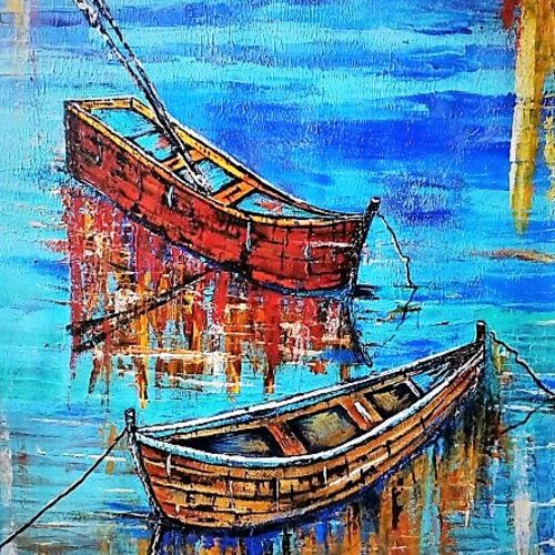 twin boats in shallow water, 25 x 36 inch, neeraj raina,abstract expressionist paintings,paintings for living room,canvas,acrylic color,25x36inch,GAL02737080