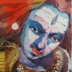 mahadev, 9 x 9 inch, rasheed p u,religious paintings,paintings for office,handmade paper,watercolor,9x9inch,GAL027917081