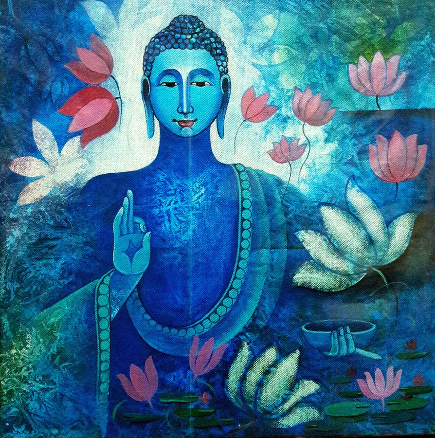 lord buddha , 12 x 12 inch, sanjay  tandekar ,buddha paintings,paintings for dining room,canvas board,acrylic color,12x12inch,religious,peace,meditation,meditating,gautam,goutam,buddha,blue,lotus,blessing,GAL028107083