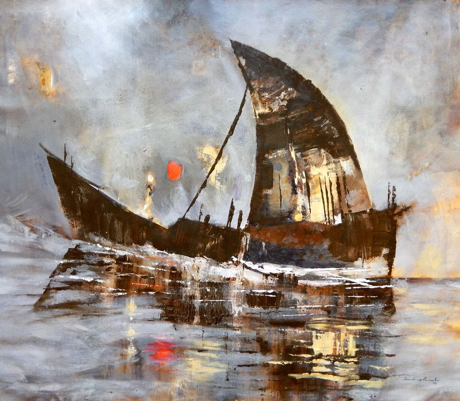 the journey of ship of dreams, 34 x 30 inch, sandeep rawal ,nature paintings,paintings for bedroom,square,canvas,acrylic color,34x30inch,GAL025117086Nature,environment,Beauty,scenery,greenery,beautiful,sun,trees,water,mountain,sunrise,leaves,boat,sailing,people