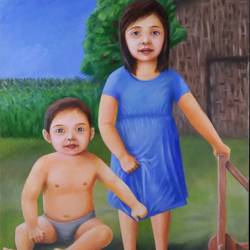 children in peace, 18 x 24 inch, gyanaditya mourya,realistic paintings,paintings for bedroom,canvas,acrylic color,18x24inch,GAL0687089