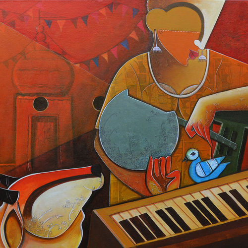 the accompanist, 30 x 36 inch, anupam  pal,figurative paintings,paintings for living room,square,canvas,acrylic color,30x36inch,GAL0827094