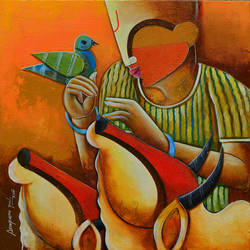 hearken, 24 x 24 inch, anupam  pal,figurative paintings,paintings for living room,square,canvas,acrylic color,24x24inch,GAL0827095