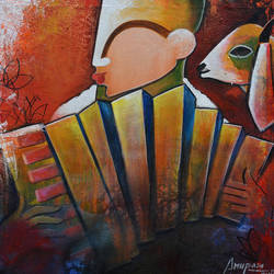 virtuoso, 24 x 24 inch, anupam  pal,figurative paintings,paintings for living room,vertical,canvas,acrylic color,24x24inch,GAL0827097