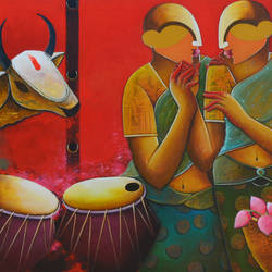 conversation, 48 x 36 inch, anupam  pal,figurative paintings,paintings for living room,square,canvas,acrylic color,48x36inch,GAL0827100