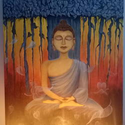gautam budhha, 14 x 18 inch, shama harsolia,paintings,buddha paintings,paintings for office,canvas board,oil,14x18inch,GAL023027104