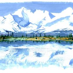 himalayan landscape, 12 x 8 inch, priyank sagar,landscape paintings,paintings for dining room,brustro watercolor paper,watercolor,12x8inch,GAL027697105