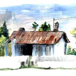 house of kumaon, 12 x 8 inch, priyank sagar,landscape paintings,paintings for living room,brustro watercolor paper,watercolor,12x8inch,GAL027697108