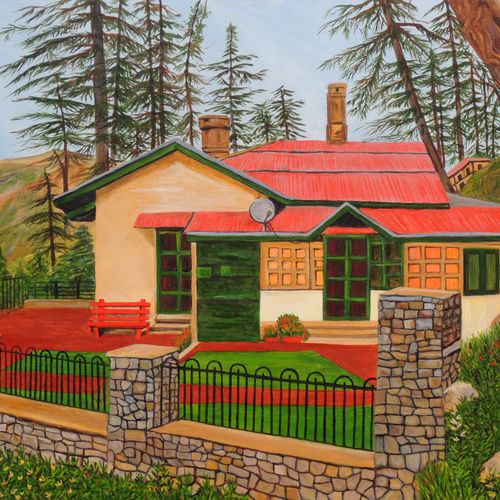 dream house in shimla, 40 x 30 inch, ajay harit,paintings,landscape paintings,paintings for living room,canvas,oil,40x30inch,GAL019987109