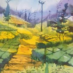 hill station, 13 x 20 inch, rasheed p u,landscape paintings,paintings for living room,drawing paper,watercolor,13x20inch,GAL027917112