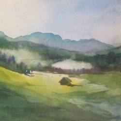 scenery a hill view, 14 x 22 inch, rasheed p u,landscape paintings,paintings for living room,handmade paper,watercolor,14x22inch,GAL027917113