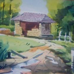 a old house, 14 x 20 inch, rasheed p u,landscape paintings,paintings for bedroom,drawing paper,watercolor,14x20inch,GAL027917115